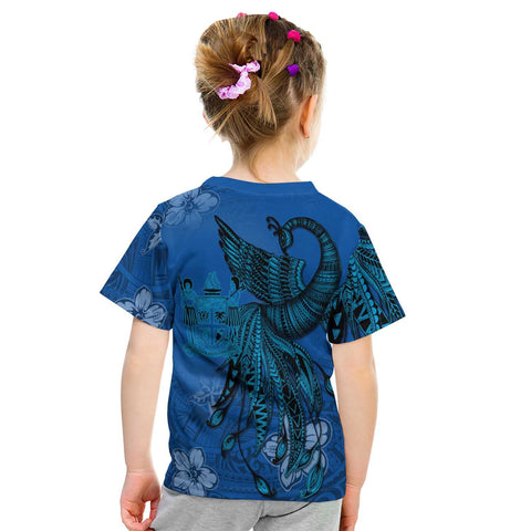 Image of Fiji Custom Personalised T-Shirt - Polynesian Phoenix Bird, Fairytales Bird Blue - BN09