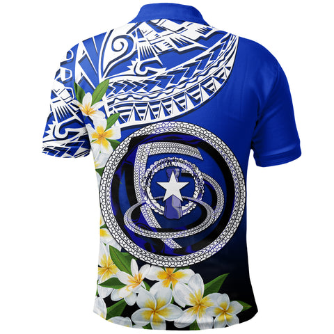 Image of Northern Mariana Islands Polo Shirt - Polynesian Plumeria Pattern - BN39