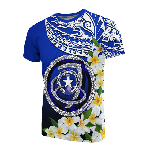 Image of Northern Mariana Islands T-Shirt - Polynesian Plumeria Pattern