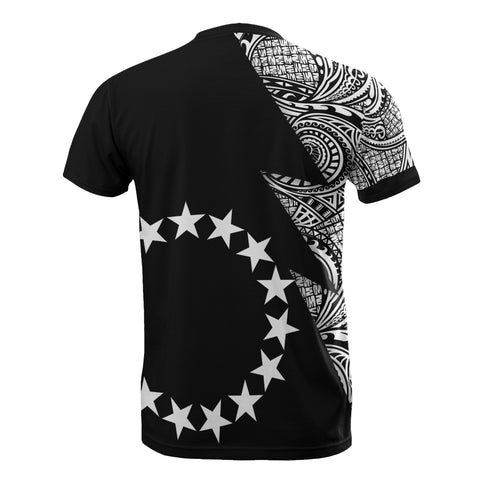 Cook Islands T-Shirt - Polynesian Pattern White Flash Style - BN09