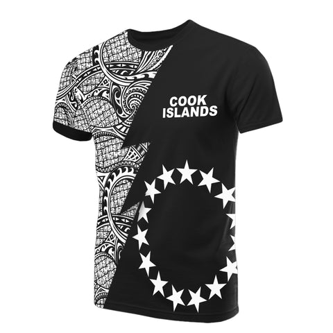 Cook Islands T-Shirt - Polynesian Pattern White Flash StyleCook Islands T-Shirt - Polynesian Pattern White Flash Style