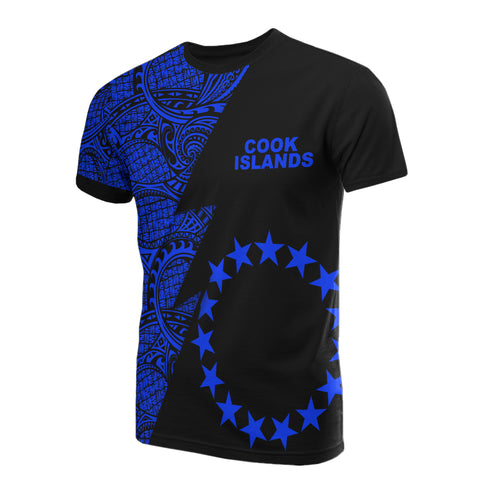 Cook Islands T-Shirt - Polynesian Pattern Blue Flash Style