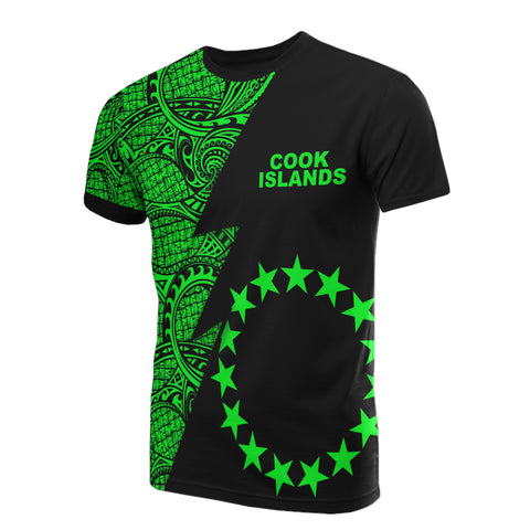 Cook Islands T-Shirt - Polynesian Pattern Green Flash Style