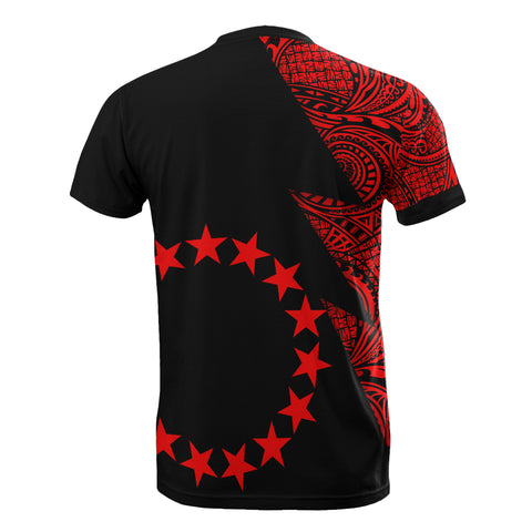 Cook Islands T-Shirt - Polynesian Pattern Red Flash Style - BN09