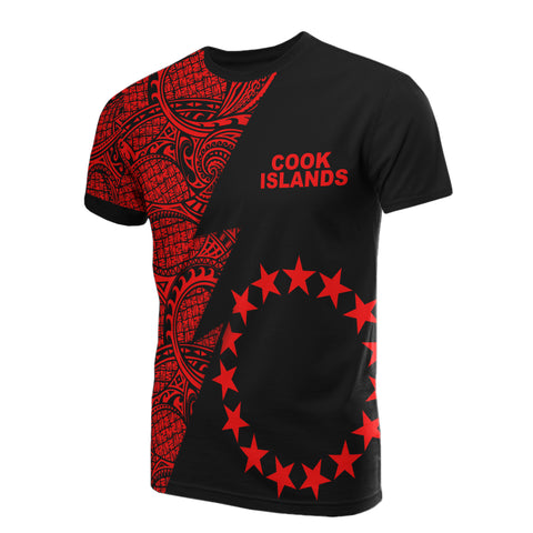 Cook Islands T-Shirt - Polynesian Pattern Red Flash Style