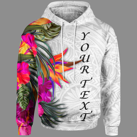 Image of Polynesian Custom Personalised Hoodie - Hibiscus White Pattern - BN39