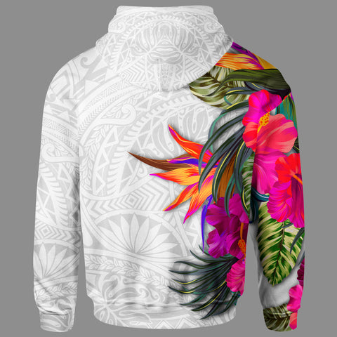 Polynesian Custom Personalised Zip Up Hoodie - Hibiscus White Pattern - BN39