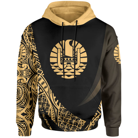 Tahiti Hoodie - Gold Polynesian Patterns Sport Style - BN01