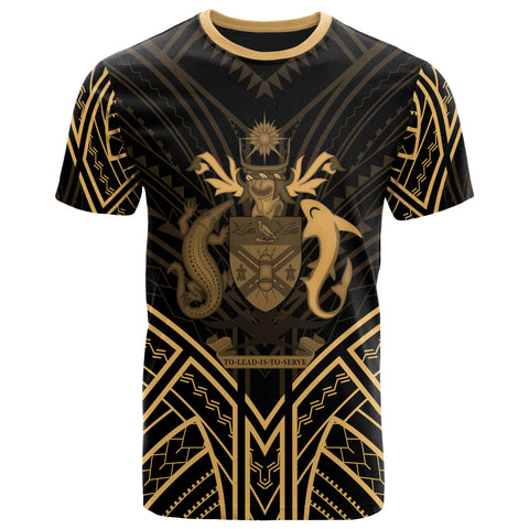 Image of Solomon Islands T-Shirt - Solomon Islands Seal Tribal Gold Color Patterns - BN01