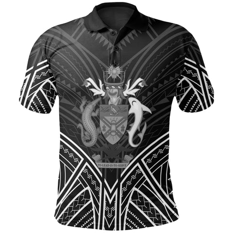 Image of Solomon Islands Polo Shirt - Solomon Islands Seal Black Tribal Patterns - BN01