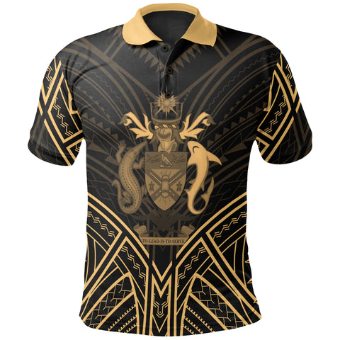 Image of Solomon Islands Polo Shirt - Solomon Islands Seal Gold Tribal Patterns - BN01