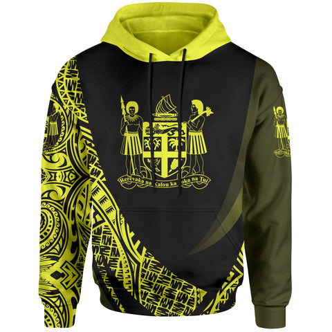 Fiji Hoodie - Yellow Polynesian Patterns Sport Style - BN01