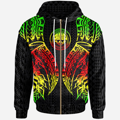Northern Mariana Islands Zip-Up Hoodie - Polynesian Lion Head Reggae Style