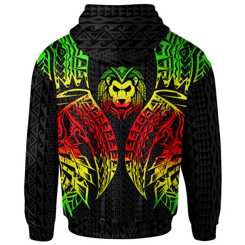 Image of Northern Mariana Islands Zip-Up Hoodie - Polynesian Lion Head Reggae Style - BN39