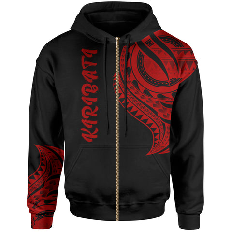 Image of Kiribati Zip Hoodie - Kiribati Tatau Red Patterns - BN01