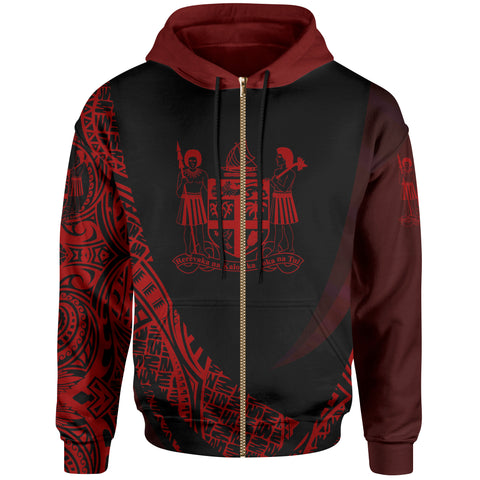 Image of Fiji Zip Hoodie - Red Polynesian Patterns Sport Style - BN01