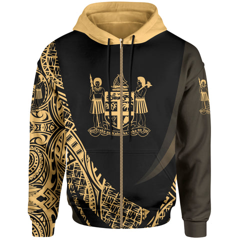 Image of Fiji Zip Hoodie - Gold Polynesian Patterns Sport Style - BN01