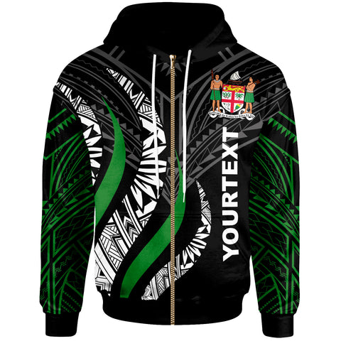 Fiji Custom Personalised Zip Hoodie - Fiji Strong Fire Pattern - BN20