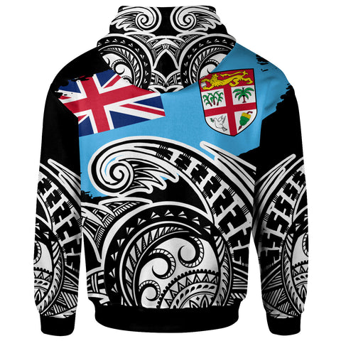 Fiji Hoodie - Ethnic Style With Round Black White Pattern - BN20