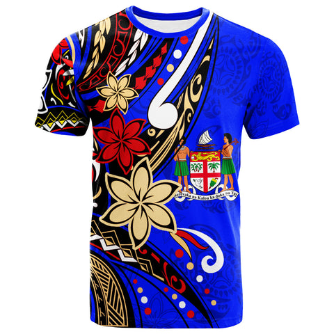 Fiji T-Shirt - Tribal Flower With Special Turtles Dark Blue Color - BN20