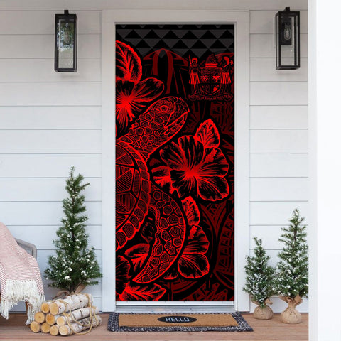 Fiji Door Cover Turtle Hibiscus Red - BN39