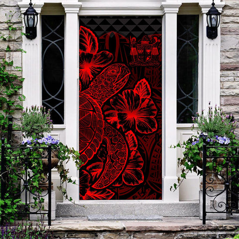 Fiji Door Cover Turtle Hibiscus Red