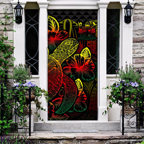 Fiji Door Cover Turtle Hibiscus Reggae