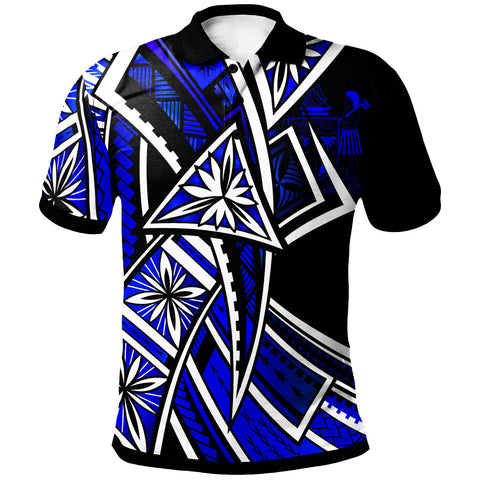 Image of Fiji Polo Shirt - Tribal Flower Special Pattern Blue Color - BN20