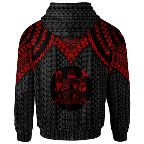 Fiji Custom Personalised Zip-Up Hoodie - Polynesian Armor Style Red - BN39