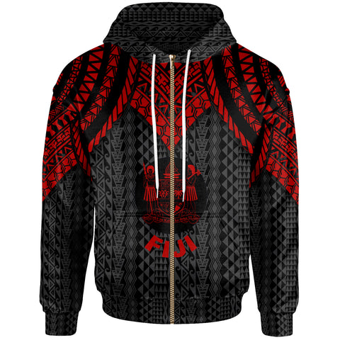 Fiji Zip-Up Hoodie - Polynesian Armor Style Red - BN39