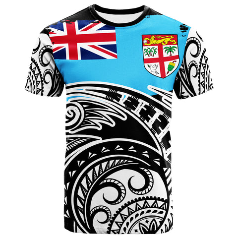 Image of Fiji Custom Personalised T-Shirt - Ethnic Style With Round Black White Pattern - BN20