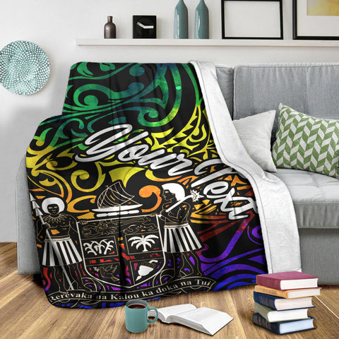 Image of Fiji Custom Personalised Premium Blanket - Rainbow Polynesian Pattern Crest