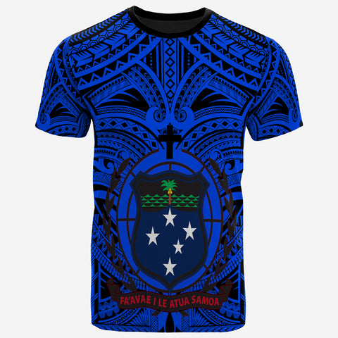 Samoa Premium T-Shirt - Samoa Coat Of Arms Polynesian Tattoo (Blue)- BN17
