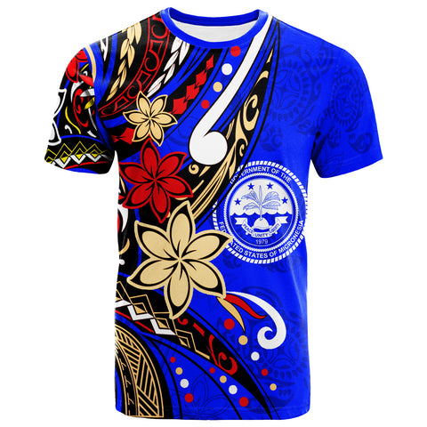Federated States of Micronesia T-Shirt - Tribal Flower With Special Turtles Dark Blue Color - BN20