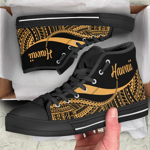 Hawaii High Top Shoes Gold - Polynesian Tentacle Tribal Pattern