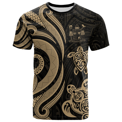 Image of Fiji Polynesian T-shirt - Gold Tentacle Turtle Crest