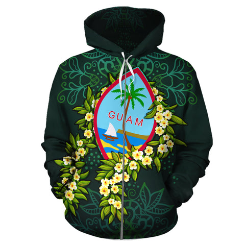Guam Polynesian Hoodie Zip-Up - Ti Leaf Lei Turtle