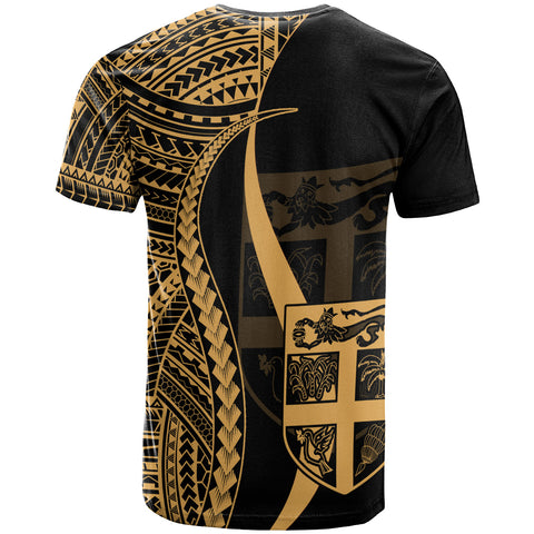 FiJi Custom Personalised T-Shirt Gold - Polynesian Tentacle Tribal Pattern