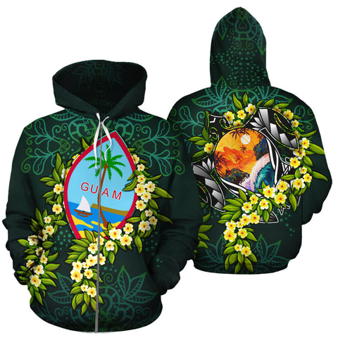Image of Guam Polynesian Hoodie Zip-Up - Ti Leaf Lei Turtle