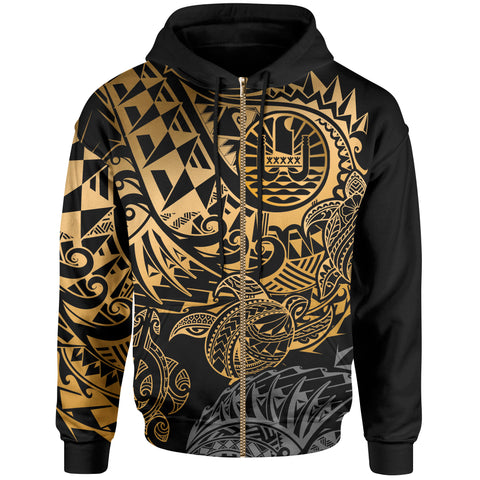 Tahiti Polynesian Zip-Up Hoodie - Gold Turtle Hibiscus Flowing