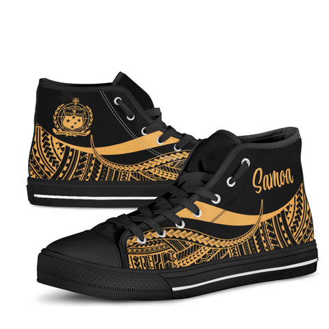 Samoa High Top Shoes Gold - Polynesian Tentacle Tribal Pattern - BN11