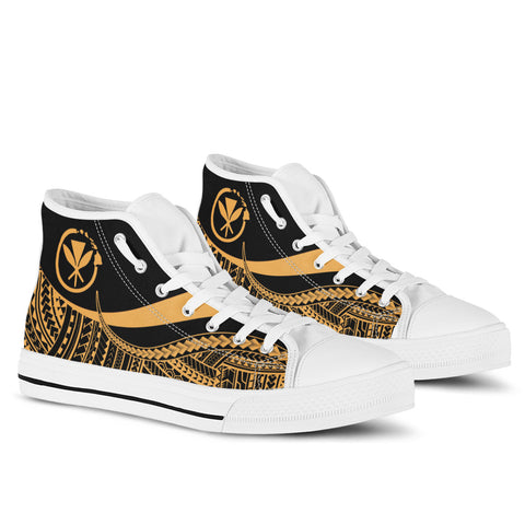 Hawaii High Top Shoes Gold - Polynesian Tentacle Tribal Pattern - BN11