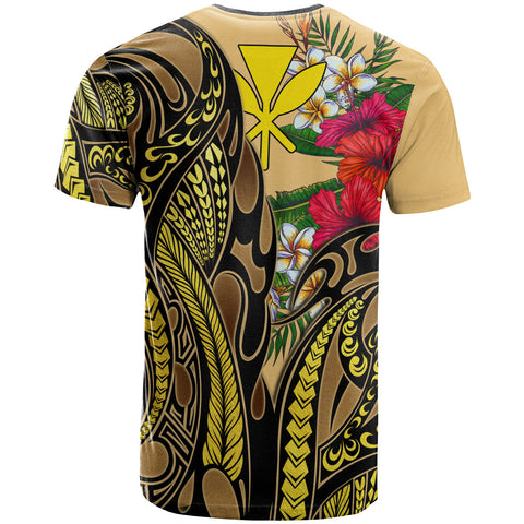 Hawaii T-Shirt Yellow - Gold Tribal Pattern and Hibiscus Plumeria