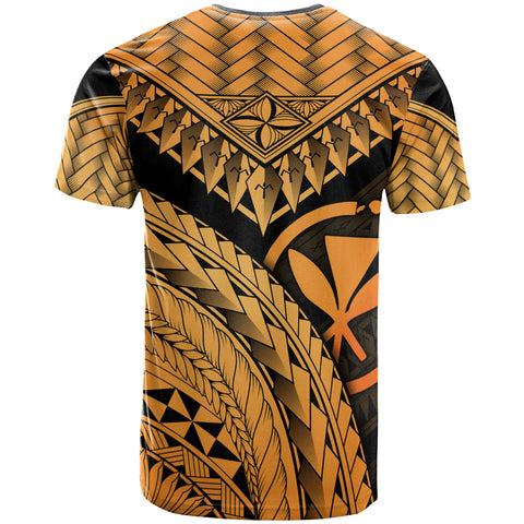 Hawaii Polynesian T-Shirt Gold - Polynesian Necklace and Lauhala