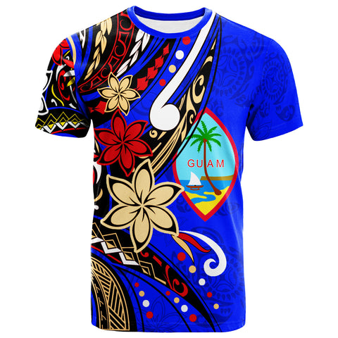 Guam  T-Shirt - Tribal Flower With Special Turtles Dark Blue Color - BN20