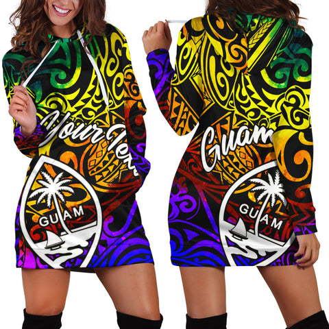 Guam Custom Personalised Hoodie Dress - Rainbow Polynesian Pattern