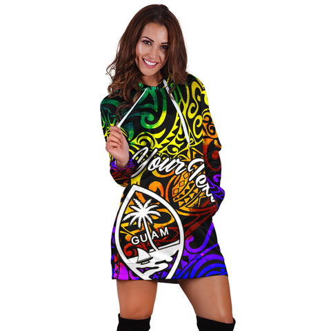 Guam Custom Personalised Hoodie Dress - Rainbow Polynesian Pattern - BN11