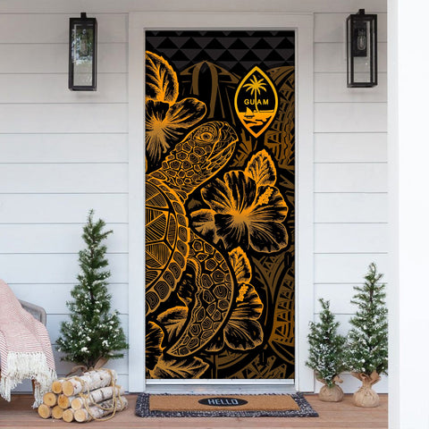 Image of Guam Door Cover Turtle Hibiscus Gold - BN39