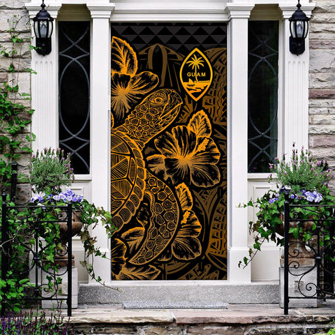Image of Guam Door Cover Turtle Hibiscus Gold