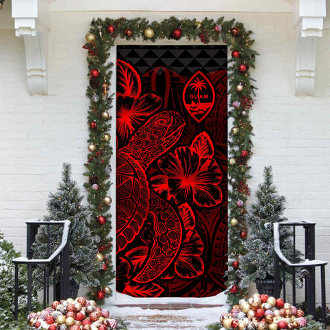 Image of Guam Door Cover Turtle Hibiscus Red - BN39